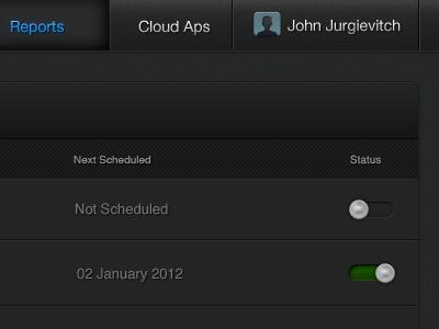 CloudVertical UI - Reports list toggle menu bar