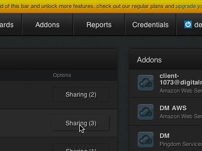 CloudVertical Overview ui css css3 dark interface buttons list