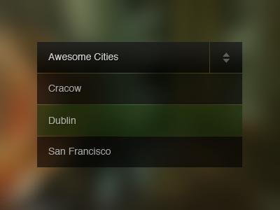 Awesome Cities Rebound drop down menu list dark minimal transparent