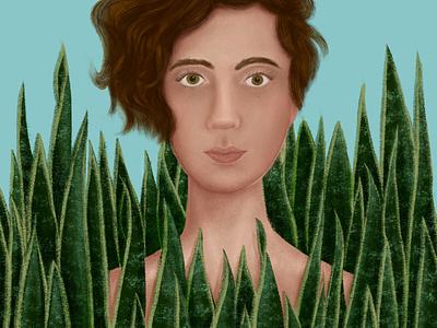 Espadas de São Jorge | Selfportrait digital illustration snake plant procreate plants botanical art botanical illustration illustration botanical brazilian selfportrait portraits