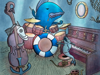 Fishes Trio procreate app music digital illustration procreate collaboration fishes underwater jamming jazz illustration