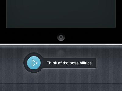 Play button concept button ui ux blue play ipad texture