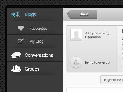 Web App Interface v2 button ui ux blue menu app interface texture ipad icons