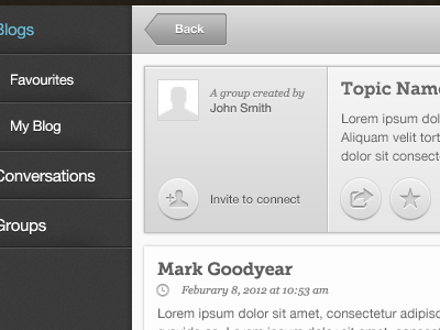 Web App - Group Topics ui ux buttons round app web ipad grey blue menu