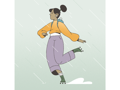 On a rainy day. rain girl roller inspiration character design photoshop character styleframe illustration