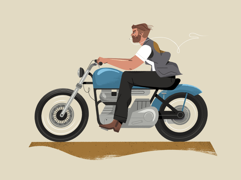 Biker. motorcycle veichle biker bike illustration inspiration character design photoshop character styleframe illustrator