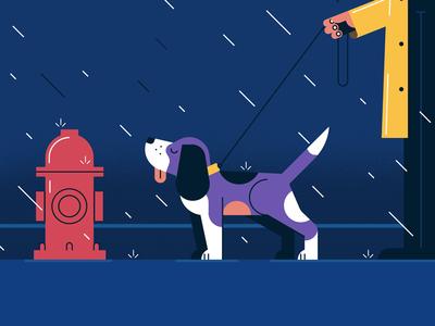 Beagle in the rain illustrator recent beagle rain motiongraphic styleframe dog vector illustration