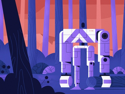 Lumberjack robot motiongraphic character wip recent video lumberjack robot styleframe vector illustration