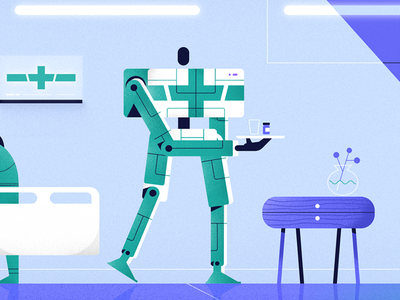 Medical robot illustration vector styleframe robot hospital medical video recent wip character motiongraphic