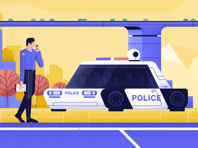 Police stuff 🚓🚓 motiongraphic character wip recent video police car futuristic styleframe vector illustration