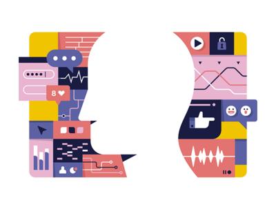 Big data 2.0 recent illustration magazine inspiration data vector editorial