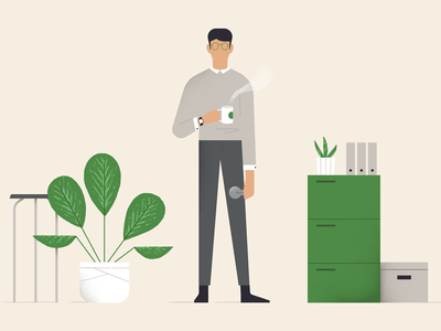 Dude & coffee vector green video recent character illustration wip styleframe