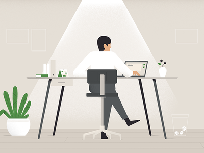 The accountant ✨ recent illustration vector desk green account motiongraphic styleframe character