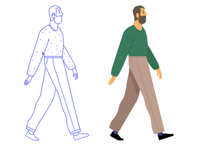 A simple guy photoshop walking styleframe character design character illustration