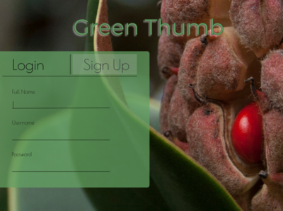 Green Thumb Sign Up Page - Daily UI Challenge.