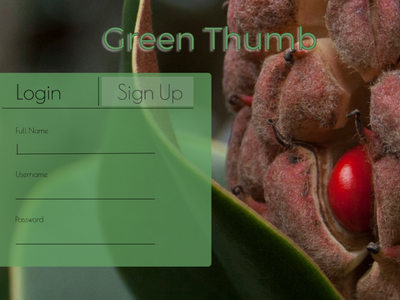 Green Thumb Sign Up Page - Daily UI Challenge. photography web design