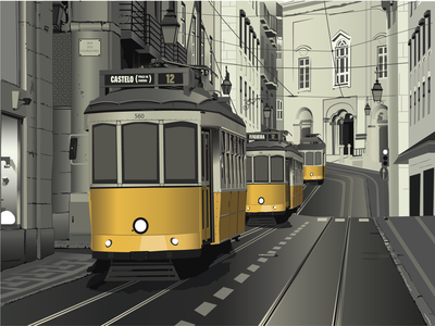 Trams in a row
