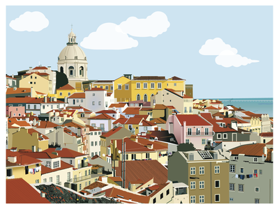Lisbon - Alfama Illustration