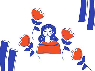 Fille en rouge vector illustration