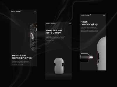 Product Landing Page for Mobile mobile screens dark theme landing page user experience design motion design responsive web design responsive website mobile website 3danimation 3d mobile web design animation interaction interface user experience ui ux graphic design design