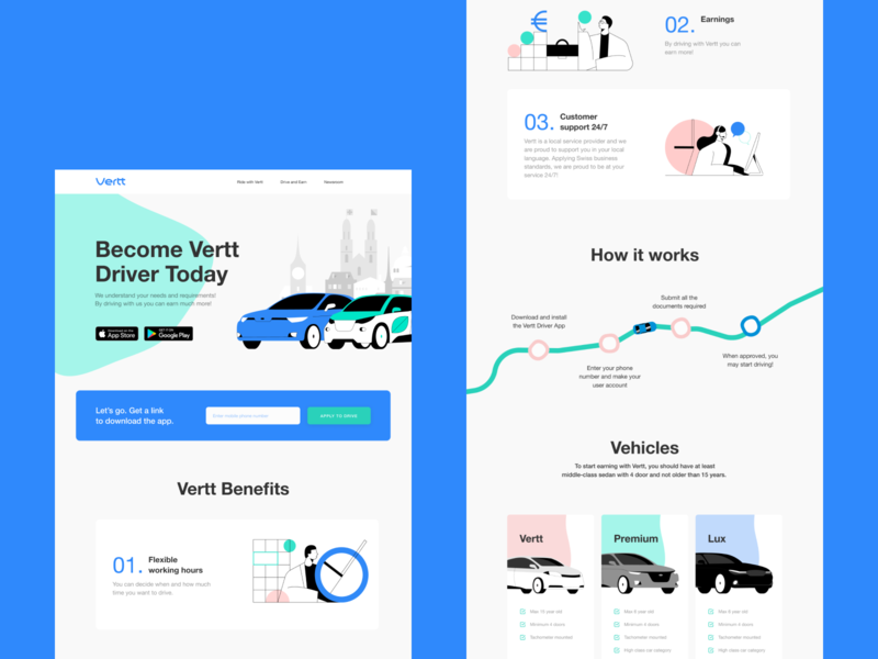 Vertt Landing Page Design app design landing page design illustrations web interface web marketing ride sharing car landing page user experience design user interface web design web user experience interaction design studio interface ui ux graphic design design