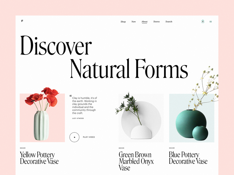 Decor Website About Page web interface minimalism home decor vases ecommerce interior decor about page web page website design web design web design studio user experience interaction interface ui ux graphic design design