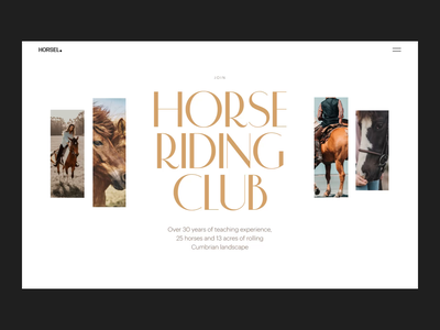 Horse Riding Club Website Interactions motion design web layout web animation animals horses riding hobby sports website design web design animation web user experience interaction design studio interface ui ux graphic design design