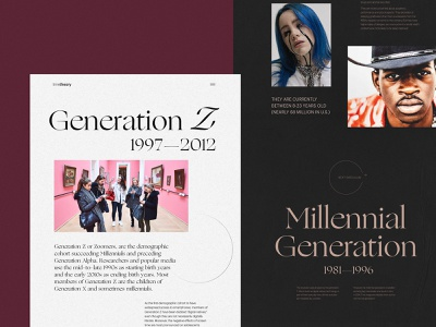 Website for Editorial About Generations user experience design web interface articles typography web layout educational sociology history generations website design web design web user experience interaction design studio interface ui ux graphic design design