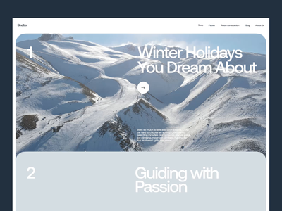 Winter holidays booking website tubik design