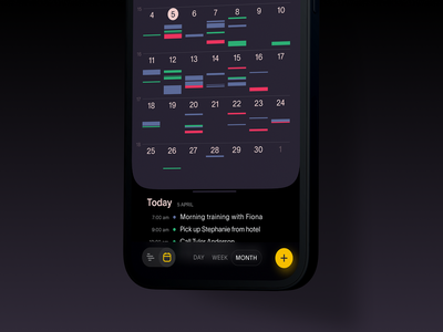 Task Manager App mobile application mobile ui dark theme task management app task manager calendar app calendar mobile design mobile app app design user interface mobile user experience interaction design studio interface ui ux graphic design design