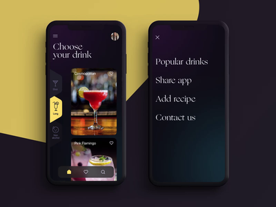 Drink Recipes App user interface design recipe app beverages drink app design mobile interface mobile design mobile app mobile ui user interface mobile animation user experience interaction design studio interface ui ux graphic design design