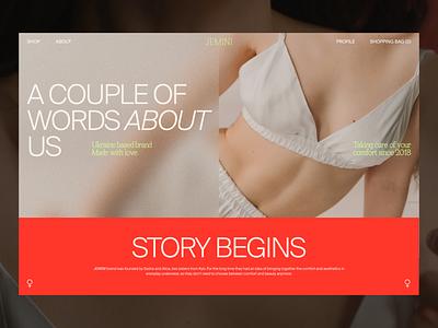 Underwear Ecommerce: About Page fashion clothing brand underwear web page about page about us website web ecommerce interaction design studio interface ui ux graphic design design