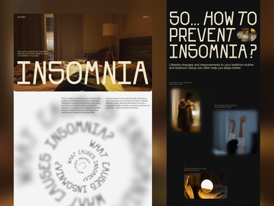 Web Editorial About Insomnia motion graphics animation web design editorial education user experience health issues health problems insomnia sleep health website web interaction design studio interface ui ux graphic design design