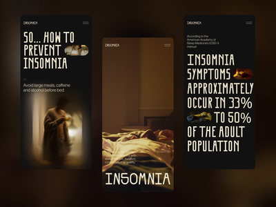 Insomnia Editorial on Mobile health insomnia typography mobile adaptation user interface responsive design mobile website website web design web interaction design studio interface ui ux graphic design design