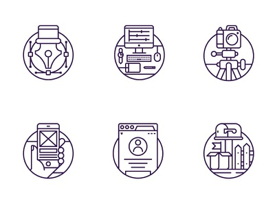 Tubik Website Icons pixelperfect outline website mail tools camera profile imac iphone iconset illustration icons