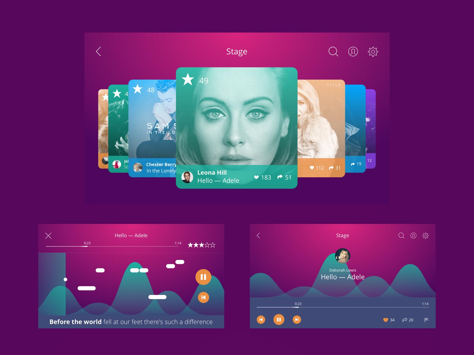 Singify app ui tubikstudio