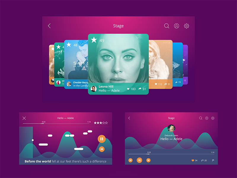 Singify App UI ios color bright music interface app design app ux ui design