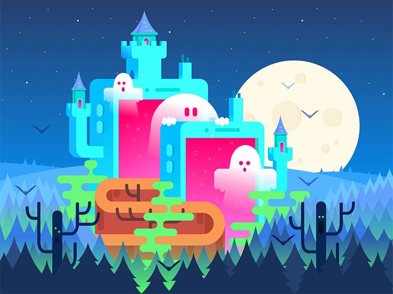 Halloween Haunted Castle app design web design design studio art halloween castle ghost character flat design illustration