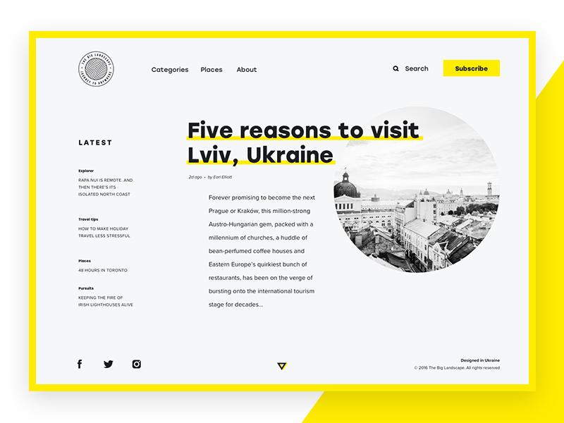 The Big Landscape blog travel website minimalism layout interface ux ui design web