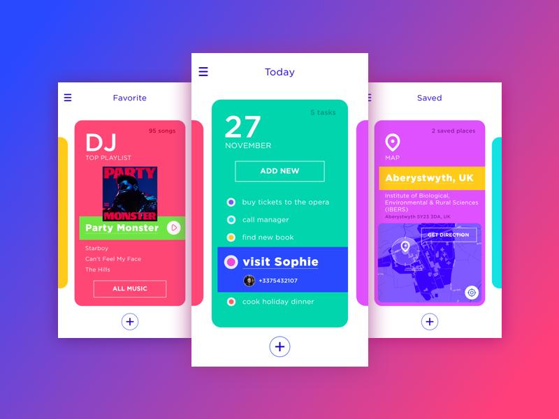 Bright Planner App navigation graphic design interface planner cards flat app design ux ui design