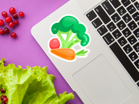 Be Healthy Stickers sticker fruit vegetables health bright flat illustration art graphic design design