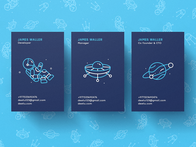 Custom space illustrations allow this business cards design to truly be out of this world.