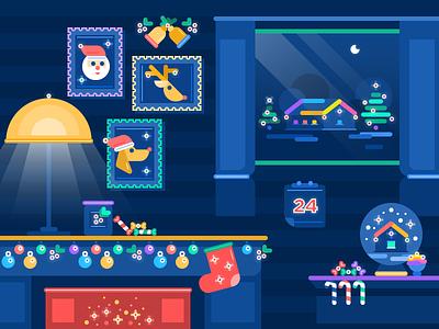 Christmas Eve Illustration design studio design agency bright holiday christmas digital art graphic design illustration flat design