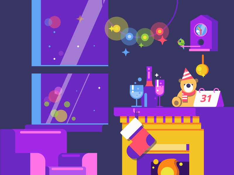 Happy New Year design studio interior bright graphic design design flat illustration holidays new year
