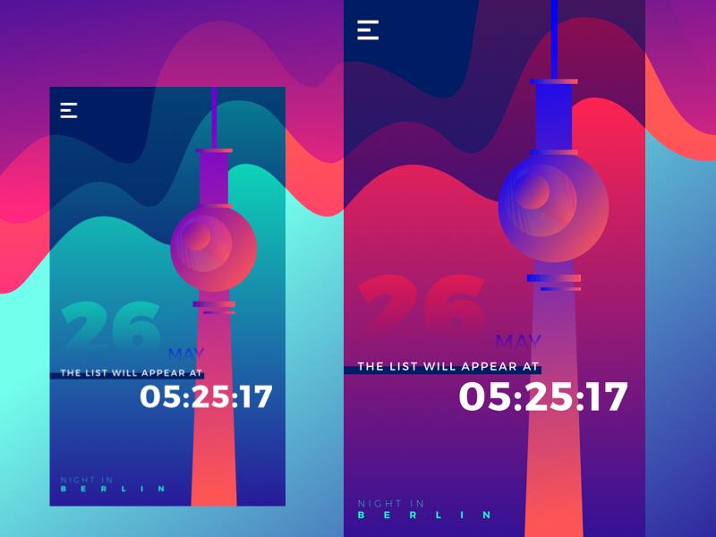 Night in Berlin App entertainment design studio iphone onboarding nightlife interface ux ui mobile app design