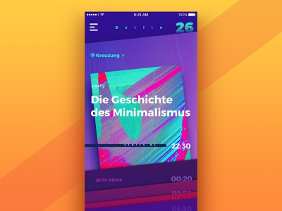 Night in Berlin: Event List. entertainment design agency iphone event list nightlife interface ux ui mobile app design