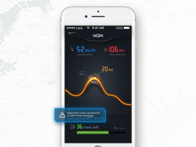 NGIN App: Car Statistics dark stats screen statistics auto car interface ux ui mobile app design