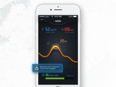 NGIN App: Car Statistics dark stats screen statistics auto car interface ux ui mobile app design