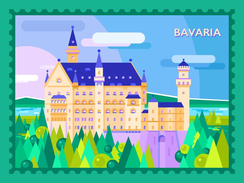 Guten Tag Bavaria spring bavaria city view graphic design flat art travel castle city illustration design