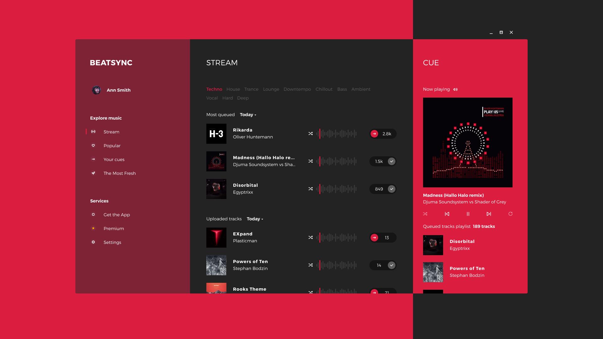 Beatsync music streaming app tubik main screen